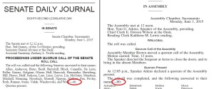 The Senate and Assembly Journals for June 1, 2015